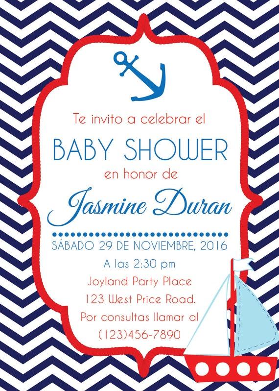 Nautical Baby Shower Invitation. Navy Babyshower Invite. Printable. Invitacion  Babyshower