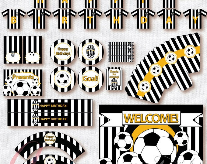 Soccer Party Package. Instant download. Printable. Matching Custom invitation available. Juventus inspired printables.