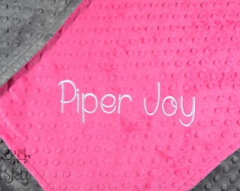 Personalized Baby Blanket, Minky Blanket, Personalized Name Blanket, Fuchsia  Blanket, Grey Blanket, Choose Your Colors, Choose Your Size