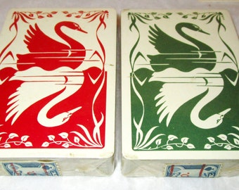 Vintage Sealed TAX STAMPS Bridgepoint SWAN Plastic Playing Cards Red Green Double Decks Original Box & Bridge Bidding Summary New In Box