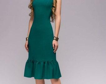 New Green MIDI Dress.Summer Sleeveless Knee Length Dress With Ruffle