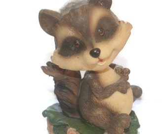 Vintage Bobble Head, Raccoon,  Figurine, Collectible, Home Decor