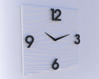 Sculpted Modern Wall clock in White Solide Surface