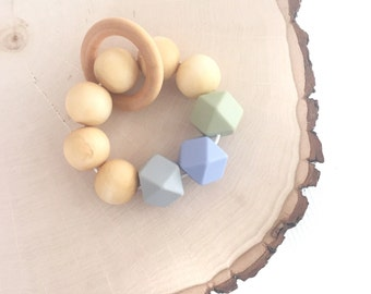 Wooden and Silicone Bead Teether, Teething Toy, Teething ring, Teething Bracelet, Green, Blue and Grey.