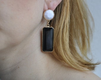 Earrings bicolor - classic chic earrings