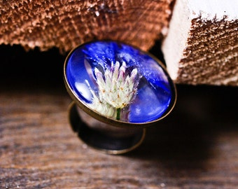 Real corn-flower resin ring