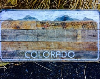 "Colorado License Plate Wall Art (30""w x 15""h) - Rustic, Reclaimed Wood, Mountain Scene, Denver Broncos"