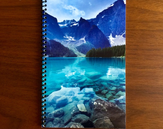 Nature Notebook 5 x 8 Spiral Bound Notebooks Mountain Lake Ocean Scenic Nature Journal Diary Party Favors Colorful vibrant water LOGO FREE