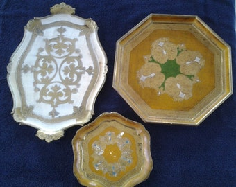 Vintage Set of 3 Itialian Serving Trays