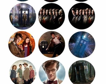 Dr.who mage sheet for bottlecaps cupcake toppers necklaces party favors keychains hairbows