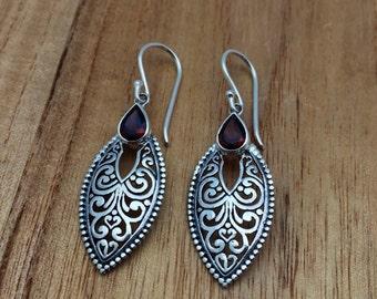 Swirl Cut-out Garnet Teardrop Earrings // 925 Sterling Silver // Hypoallergenic // Hook Backing // Ornate Bali Design