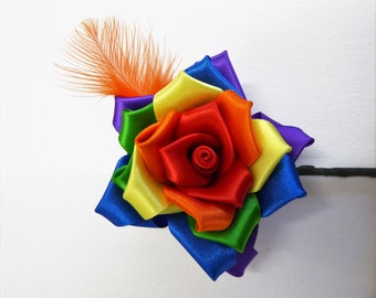 Handcrafted Rainbow Rose Buttonhole