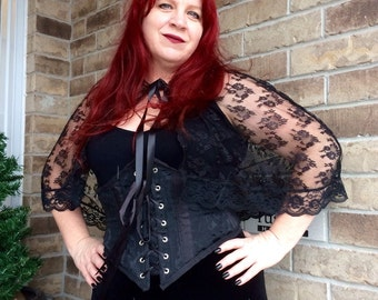 Black Lace Hooded Capelet