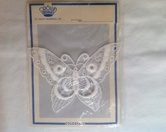 White lace butterfly applique