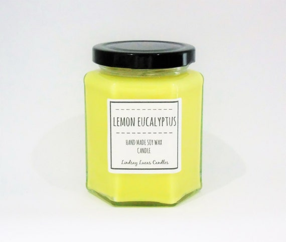 bougie parfum e de citron eucalyptus huile par lindsaylucascandles. Black Bedroom Furniture Sets. Home Design Ideas
