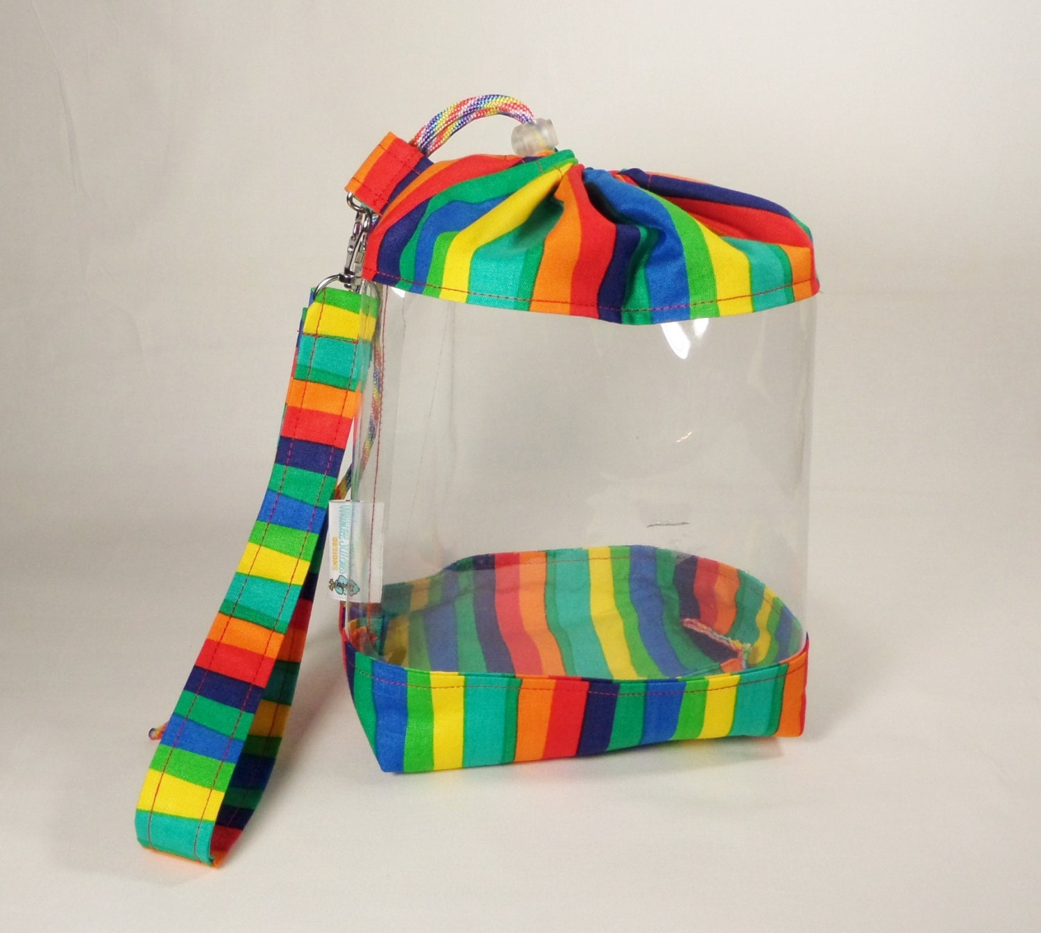 clear knitting project bag wide rainbow project bag sock