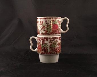 Vintage Japanese Stacking Mugs | Set of Two