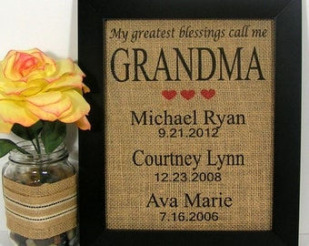 My Greatest Blessings Call Me Grandma, Personalized Christmas Gift For Grandma, Birthday, Burlap Print,Personalized Gift,Nana,Gigi, Mema
