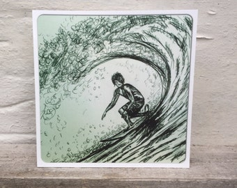 Retro biro sketch surfer on wave artworkcard  square blank greetings card Surf art surfing surfer