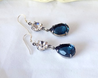 Montana Blue Earrings Sterling Silver Swarovski Crystal Montana Blue Teardrop Earrings Victorian Style