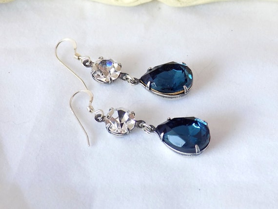 Montana Blue Earrings Swarovski Crystal Montana Blue Teardrop Earrings Blue Dangle Earrings Downton Abbey Jewelry Victorian Earrings
