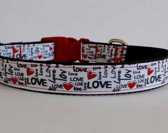 Love, Love, Love Valentine Dog Collar - READY TO SHIP!