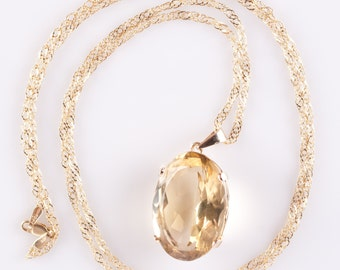 """Beautiful Vintage 1950's 14k Yellow Gold Citrine Solitaire Pendant W/ 32"""" 18k Chain 38.0ct"""