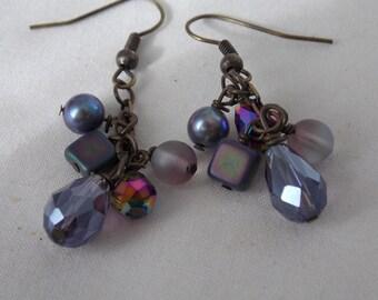 Earrings  Purple Crystals Beads Earrings Dangle Earrings  E42