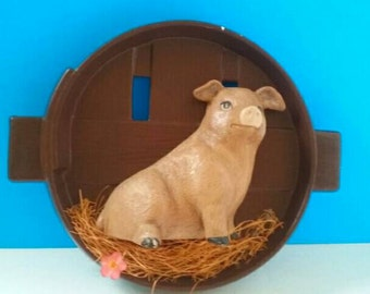 Handmade Vintage 3D Pig Wall Hanging With Real Straw.