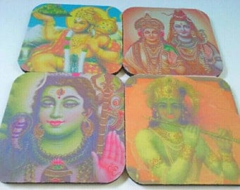Set Of Four Hindi God/Goddess Rubber Coaster Set, Set Of Four, Rubber Coasters, Hindi, Hindu Coasters, Made By Mod.