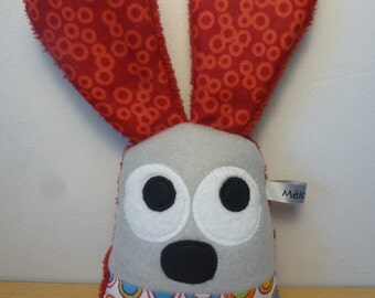 Rattle rabbit grey red and white - awakening toy