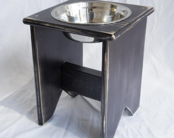 """Elevated Dog Bowl Stand - Wooden - 1 Bowl - 300 mm / 12"""" Tall - Raised Dog Bowl"""