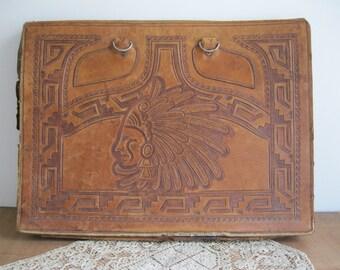Vintage Leather Briefcase/Portfolio Hand Tooled Leather Mexico Aztec Leather Work For Scrap-Repurpose Or Refurbish...Reshopgoods