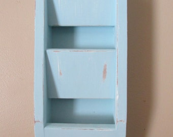 Light Blue Distressed Wooden Hanging Mail Sorter Shabby chic Cottage Chic Mail Holder Wall Hanging