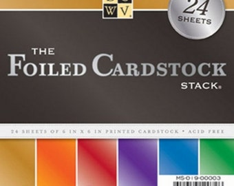 ON SALE FOILED Cardstock Stack 24 Sheets of 6x6 Printed Cardstock
