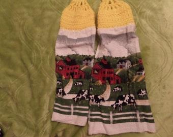 Cow Hanging Towel, Kitchen Towels, Crochet Top Towel, Kitchen Accessories