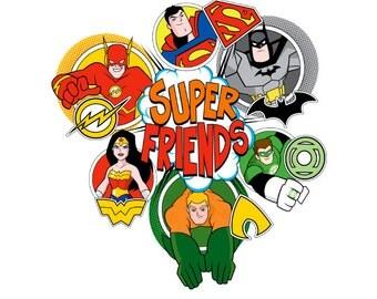 Super Friends sticker , Kids , Boys , Girls , Batman , WonderWoman , Superman , Flash , Green Lantern , Aquaman