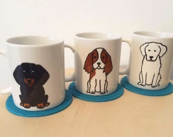 Personalised ceramic mug, handpainted picture of your dog or pet, great for pet owners, dog lovers and animal lovers, unique birthday gift