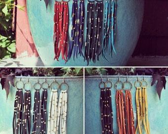 Desert Rain Earrings .:. Leather Fringe Earrings. Leather Jewelry. Bohemian Jewelry.
