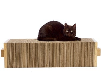 Horizontal Cuboid CARDBOARD Cat Scratcher | recycled cardboard & oak structure | by Charley and Billie