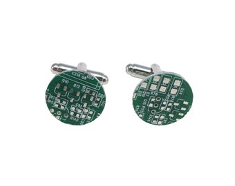 Real Computer Circuit Board Chip Circle Without Border Cuff Links