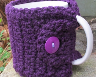 Eggplant Crochet Mug Cozy With Button Ready to Ship
