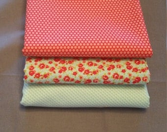 Little Ruby Half Yard Bundle of 3 in Aqua and Red by Bonnie and Camille