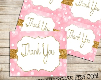 Pink and Gold thank you note card, _53