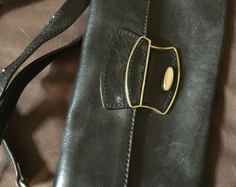 Vintage Black Leather Giani Bernini Purse Bag