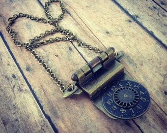 Door Hinge Necklace, Watch Part Necklace, Steampunk Necklace, Gear Necklace, Watch Dial Necklace, Unique Necklace, Shabby Chic Jewelry