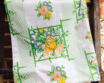 Set of 2 Vintage Retro yellow, green, pink, and blue standard pillowcase