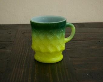 Vintage Fire King Coffee Green Mug Kimberly Pattern