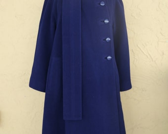 Vintage 80s Pauline Trigere Navy Blue Wool Blanket Swing Coat Jacket 10