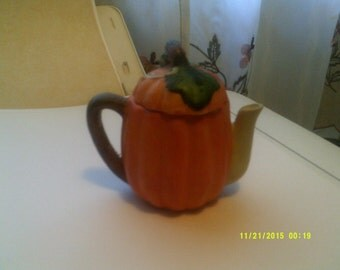 Miniature Porcelain Pumpkin Teapot